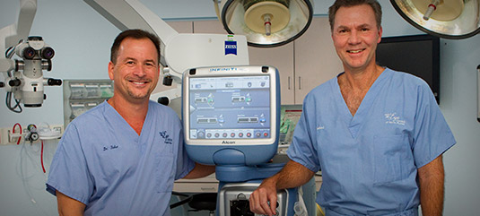 Dr. Fisher and Dr. Garland in the Eye Surgery Center